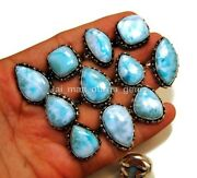New Wholesale Lot 100 Pcs Natural Larimar 925 Sterling Silver Plated Rings Rb-32