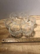 Vintage Floral Clear Glass Candy Or Nuts Dish Divided Into Three Sections