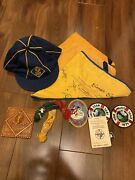 Vintage Cub Scout Lot Of Patches Pins Scarfs Hat A Cub Is Square
