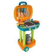 Pretend Play Bbq Grill Kids Dinner Playset With Sounds Lights Food Utensils