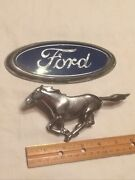 Ford Mustang 1960andrsquos Chrome Horse Grill Emblem And Ford Oval Emblem