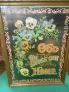 Great Collectible Antique Wood Framed Picture- God Bless Our Home