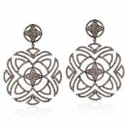 Antique Look Natural Pave Diamond Dangle Earring 925 Sterling Silver Jewelry Sa