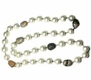 Natural Pearl Beaded Necklace Diamond Pave Vintage Look 925 Silver Jewelry Sa