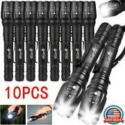 10pc Tactical Flashlight 35000 Lm Powered High 5-mode Zoomable Torch Aluminum