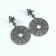 Pave Diamond Designer Circle Earrings 925 Sterling Silver Antique Jewelry Sa