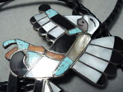 Huge Dancing Kachina Vintage Zuni Turquoise Sterling Silver Coral Bolo Tie
