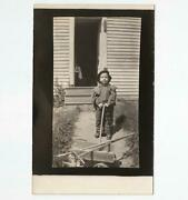 Antique Real Photo Postcard View Of Boy And Wooden Express Wagon W/rake And Hoe Rppc