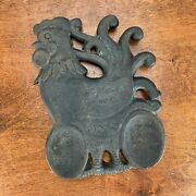 Cast Iron Rooster Trivet Spoon Rest God Bless Our Home