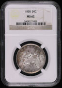 1838 Capped Bust Silver Half Dollar Coin Ngc Ms62 Nice Toning