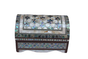 Egyptian Inlaid Inside And Outside Paua Mother Of Pearl Wood Treasure Box 8 993