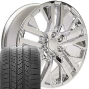 Oew 22x9 Wheels And Tires Fit Chevy Gm Custom Chrome Cv38 Goodyear Tires Set