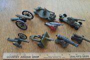 Vintage Lot Of 8 Cast Iron Metal Brass Toy Field Military Artillery Cannons