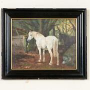 Antique Oil On Board Painting Of White And Bay Horses In Turnout, Signed Simon S