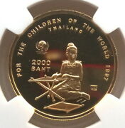 Thailand 1997 Save Child 2000 Baht Ngc Gold Coinproof