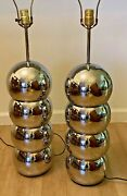 """Mid Century Chrome Stacked 4 Ball Lamps 1970's 7"""" Dia George Kovacs Pair"""