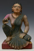 Early 19th Century, Early Mandalay, Antique Burmese Wooden Seated Lady