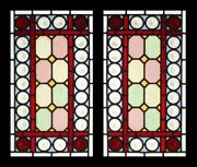Rare Victorian Pair With Awesome Rondels Antique English Stained Glass Windows