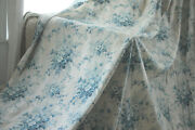 Antique French Huge Bed Curtain Stunning Blue Floral 1850 Glazed Light Fabric