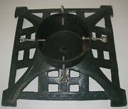 Antique Cast Iron Christmas Tree Stand Edwardian Green Art Deco 18 Wide Large
