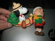 Vintage Lot Of 2 Peanuts Charlie Brown Snoopy And Woodstock Christmas Ornaments