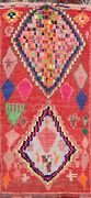 Antique Authentic Berber Moroccan Hand-knotted Area Rug Vegetable Dye Wool 5and039x9and039