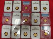 Gold 2.50 Indian Head 15 Coin Gem Set-almost Never Seen In The Market.