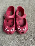 Mini Melissa Hot Pink Cats Flats Shoes Size 10 Toddler