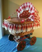 Antique Wicker Baby Doll Bassinet Buggy Carriage Stroller Red White Checker 26 L