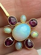Black Opal And Ruby 18ct Pendant Antique Rubies Have Certificate All Natural Stone