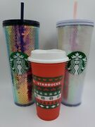 Starbucks Sequins Holiday 2020 Christmas Cold Cup Tumbler Set Purple And White