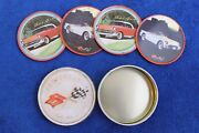 1957 Chevy 1953 Vette Coasters In Tin Novelty Bowtie Emblem Badge Belair