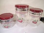Nos Set Of 3 Pfaltzgraff Deliciuos Apple Acrylic Storage Canisters Bail Hinge