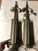 Antique Art Deco Heavy Brass Table Lamp Pair 2 Light Pull Chain With Finials