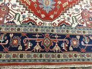 10and039x14and0396 New Fine Hand Knotted Wool Super Serapi Herizz Oriental Geometric Rug