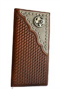 Menand039s Leather Bi-fold Wallet Western Cowboy Cowhide Wallet Star State Texas Map