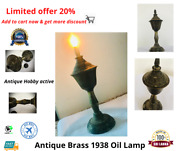 Oil Burning Lamp Antique Copper And Brass Polished Firefly 1938 Rare Lamp