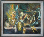 Outsider Fish Bird Skeletons Abstract Modernist Vintage Painting James R Congell