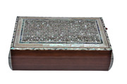 Egyptian Mother Of Pearl Inlaid Jewelry Box Convex Design 14 X 9 Unique 1152