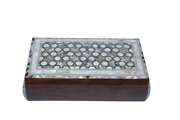 Egyptian Mother Of Pearl Shell Convex Wooden Inlaid Jewelry Box 12 X 7.6 700