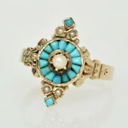 Rare Antique Victorian 9k Seed Pearl And Turquoise Vertical Etruscan Estate Ring