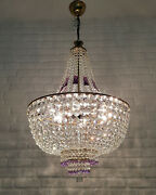 Antique Vintage Brass And Crystals Giant Empire Chandelier Lighting Ceiling Lamp