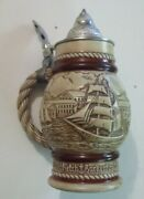 Avon Beer Stein With Pewter Lid Handcrafted In Brazil 1977 273361