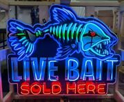 Neon Sign / Live Bait Sold Here Sign / Animated Neon Signs / Fishing Signs