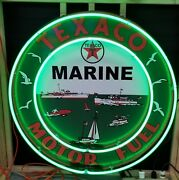 Texaco Marine 3.5ft Neon Sign Approx 3.5ft Across Gas And Oil Freight Shipping