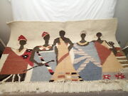 Masana Vintage African Hand Woven Wool Rug Tapestry 4ft Wide