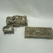 Lot Of 3 Godinger Silver Plate Embossed Jewelry Andbox Silver Plated Rose Trinket