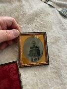 Tin Type Photo Antique Portrait With Seated Child