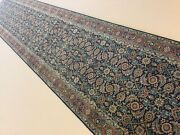2andrsquo.6andrdquo X 13andrsquo.8andrdquo Navy Blue Rust Fine Geometric Hand Knotted Oriental Rug Runner