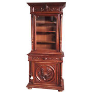 Antique French Hunt Cabinet Carved Shore Bird 19th Century Oak